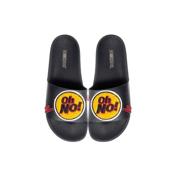 557eeb3d4 THE WHITE BRAND Shoes | Oh No Black Sandal Slipon Slide | Poshmark